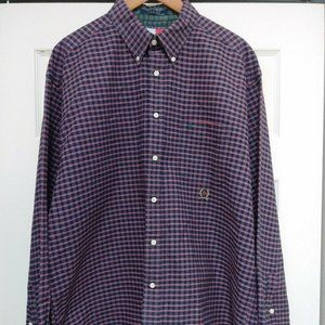Tommy Hilfiger XL LS Red Navy Button check Plaid